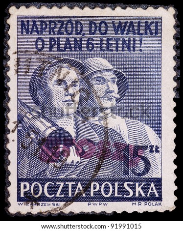 POLAND - CIRCA 1950: A stamps printed in Poland, shows two workers, Poland, circa 1950