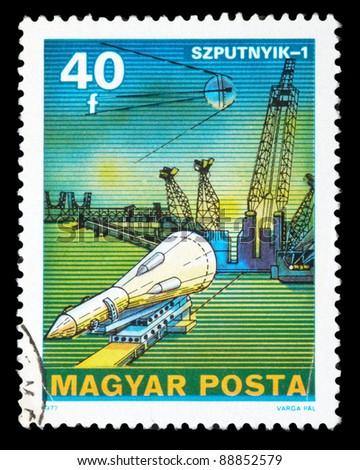 POLAND - CIRCA 1977: An airmail stamp printed in Poland shows a space ship, series, circa 1977. - stock photo