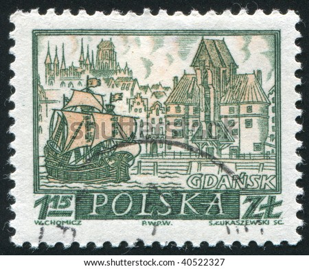 POLAND -CIRCA 1963: Ancient Ship. Gda?sk, also known by its German name Danzig, is a city on the Baltic coast in northern Poland, circa 1963. - stock photo