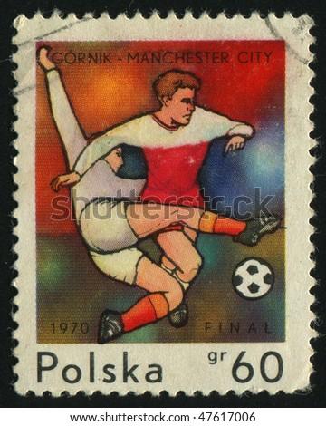 POLAND - CIRCA 1970: European soccer cup finals, circa 1970. - stock photo