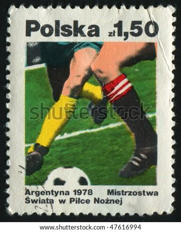 POLAND - CIRCA 1978: Football match. Two football players, circa 1978. - stock photo