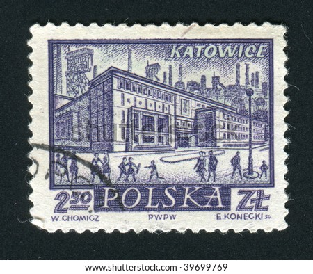 POLAND -CIRCA 1963: Katowice- a city located in southern Poland, capital of the Silesia province, circa 1963.