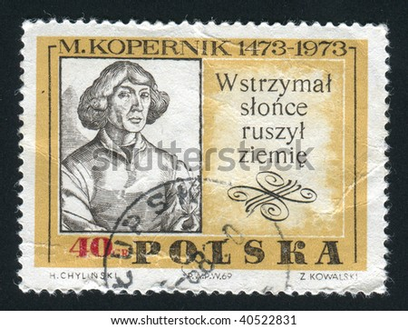 POLAND - CIRCA 1969: Nicolaus Copernicus was the first astronomer to formulate a comprehensive heliocentric cosmology, circa 1969.