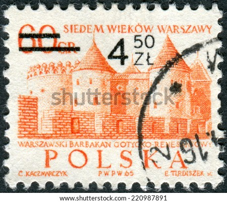 POLAND - CIRCA 1965: Postage stamp printed in Poland (overprint, denomination 1972), shows the Barbican, Githic-Renaissance castle, circa 1965