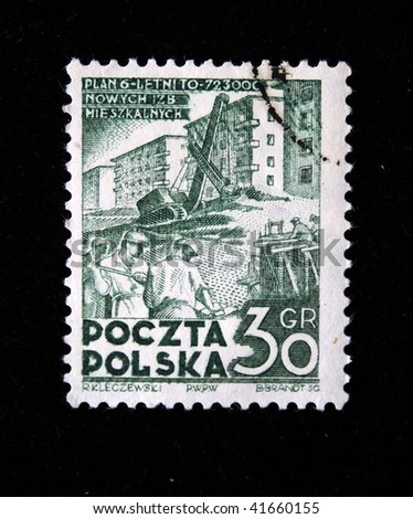 POLAND - CIRCA 1950s: A stamp printed in Poland devoted 6-year plan for economic development in Poland, shows workers on construction site, circa 1950s