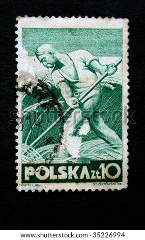 POLAND - CIRCA 1950s: A stamp printed in Poland shows a peasant mowing wheat, circa 1950s.