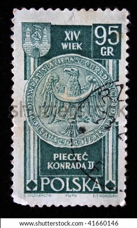 POLAND - CIRCA 1950s: A stamp printed in Poland shows personal seal of King Konrad II, circa 1950s - stock photo