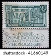 POLAND - CIRCA 1950s: A stamp printed in Poland shows Spinning Mill, circa 1950s - stock photo