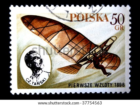 POLAND - CIRCA 1970s: A stamp printed in Poland shows vintage gilder and portrait of Cz.Tanski, devoted first flight, circa 1970s