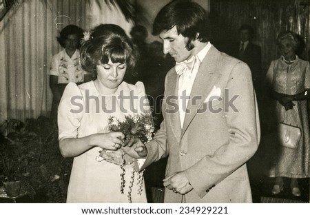 POLAND, CIRCA 60s: vintage photo of wedding ceremony