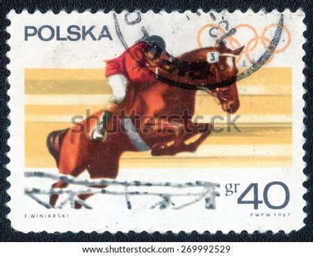 POLAND - CIRCA 1967: stamp printed by Poland, shows a horse and jockey, circa 1967.   - stock photo