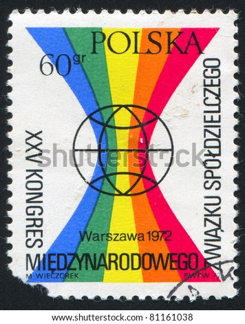 POLAND - CIRCA 1972: stamp printed by Poland, shows globe, circa 1972. - stock photo
