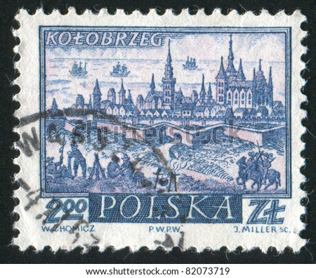 POLAND - CIRCA 1960: stamp printed by Poland, shows Historic Town Kolobrzeg, circa 1960