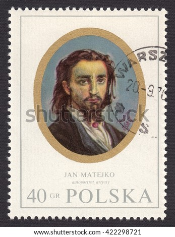POLAND - CIRCA 1970: stamp printed by Poland, shows miniature portrait Jan Matejko (1838-1893)-Polish painter, Austro-Hungarian citizenship,author of battle and historical paintings,circa 1970 - stock photo