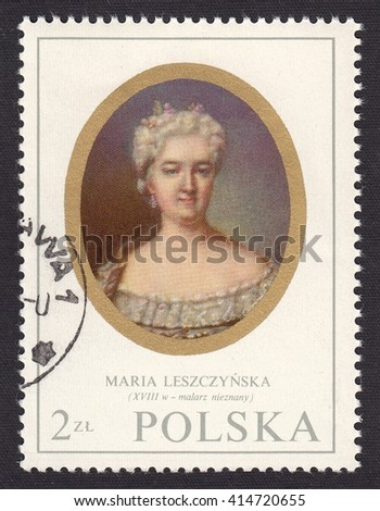 POLAND - CIRCA 1970: stamp printed by Poland, shows miniature portrait Maria Leszczynska (1703-1768) Queen of France of Polish descent, the wife of king Louis XV, circa 1970