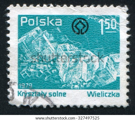 POLAND - CIRCA 1979: stamp printed by Poland, shows Salt Crystals, circa 1979 - stock photo