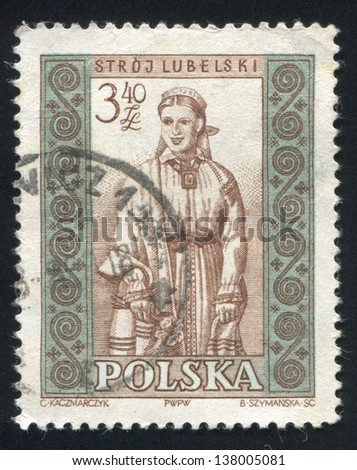 POLAND - CIRCA 1959: stamp printed by Poland, shows Woman from Lublin, circa 1959