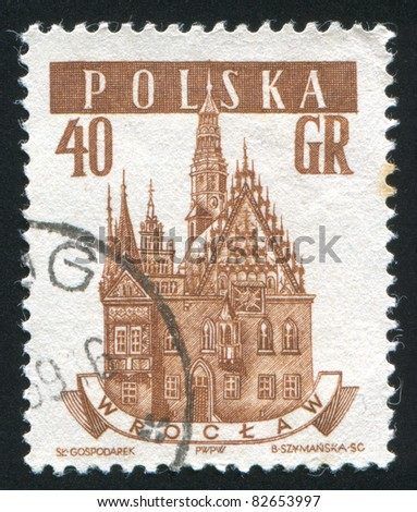 POLAND - CIRCA 1958: stamp printed by Poland, shows Wroclaw, circa 1958