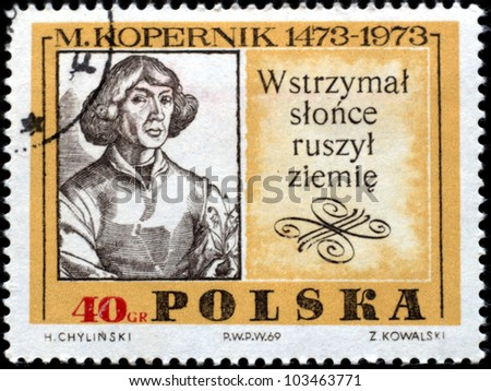 POLAND - CIRCA 1973 : stamp printed in Poland showing Nicolas Copernicus, circa 1973