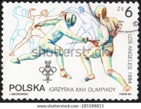 POLAND - CIRCA 1984: stamp printed in Poland shows a series of images of the Olympic Games in Los Angeles in 1984, circa 1984  - stock photo