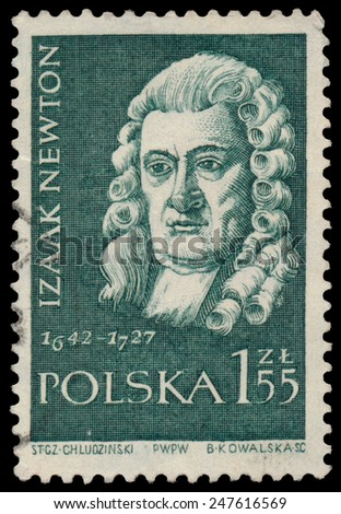 POLAND - CIRCA 1959: Stamp printed in Poland shows Isaac Newton (1642-1727), circa 1959 - stock photo