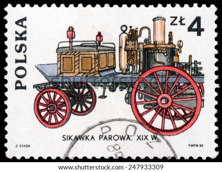 Poland - CIRCA 1985: Stamp printed in Poland shows old car Sikawka Parowa, Fire truck, circa 1985 - stock photo