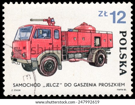 Poland - CIRCA 1985: Stamp printed in Poland shows Samochod. 1930, Fire truck, circa 1985