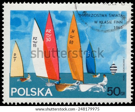 "POLAND - CIRCA 1965: Stamp printed in Poland shows Yacht with the inscription and name of the series ""Championships in the Finn class, 1965"", circa 1965 - stock photo"