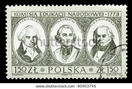 POLAND - CIRCA 1973: The stamp printed in Poland shows the commission of folk education, circa 1973