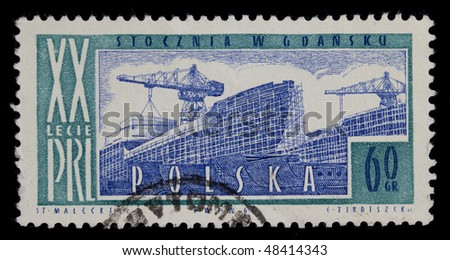 POLAND CIRCA 1964 - vintage canceled post stamp with engraving of shipyard in Gdansk, commemorating 20th anniversary of Polish People Republic, later a birth place of solidarity movement and labor union circa 1964 - stock photo