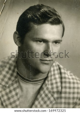 POLAND, CIRCA 1940: Vintage portrait of man