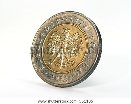 Poland coin closeup view - stock photo