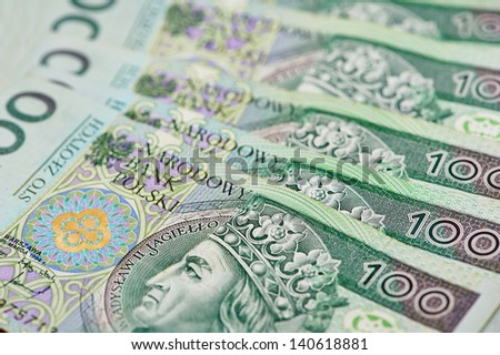 Poland currency money polish zloty banknotes and coins. Close-up - stock photo