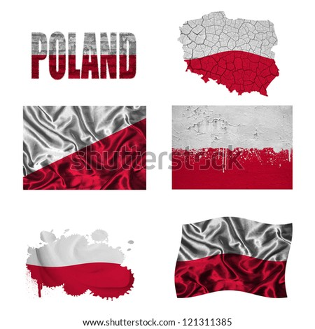 Poland flag and map in different styles in different textures - stock photo