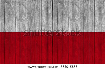 poland flag on wood texture background