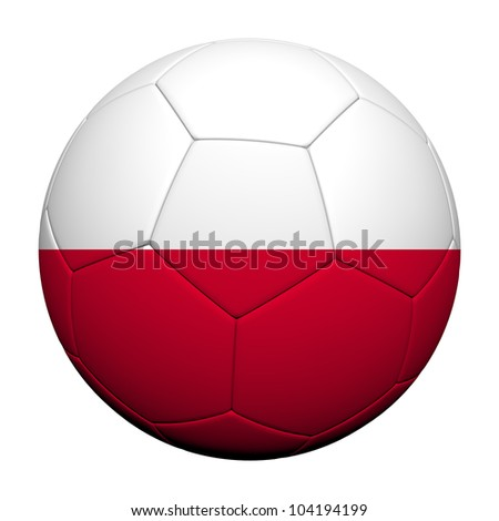 Poland Flag Pattern 3d rendering of a soccer ball - stock photo