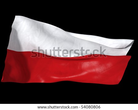 Poland flag rendered in 3d imagery. Flag flaunting on a wind. - stock photo