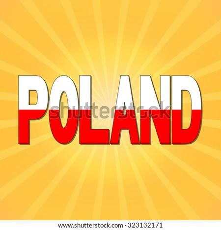 Poland flag text with sunburst illustration - stock photo