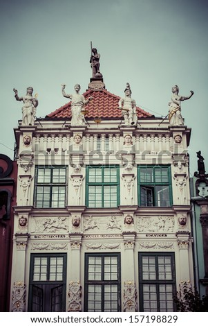 Poland, Gdansk, detail of the houses of the old town. - stock photo