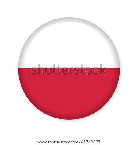 Poland - glossy button with flag