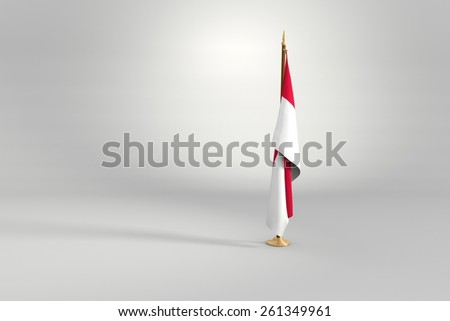 Poland isolated flag on a brown and golden wooden mast 3d illustration - stock photo