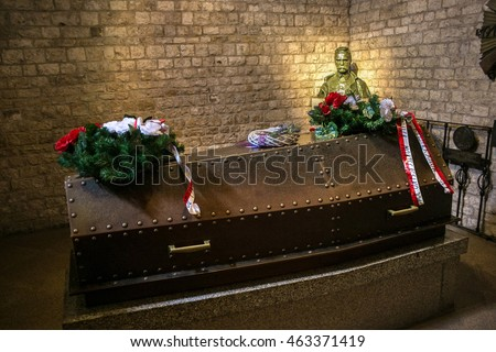 POLAND, KRAKOW - MAY 27, 2016: Grave of Jozef Pilsudski in Wawel castle. Jozef Pilsudski was a polish marshal and Chief of State, and he was an important figure on the European political scene.