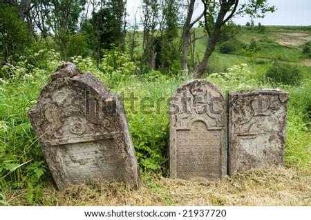 Poland, Lutowiska. Old Jewish cemetery - established in the 18th century, about 100 tombstones preserved. - stock photo