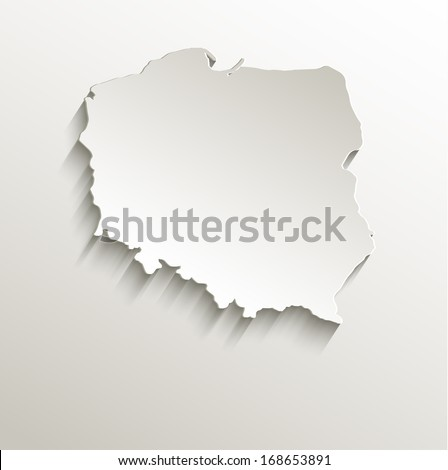 Poland map card paper 3D natural raster blank - stock photo