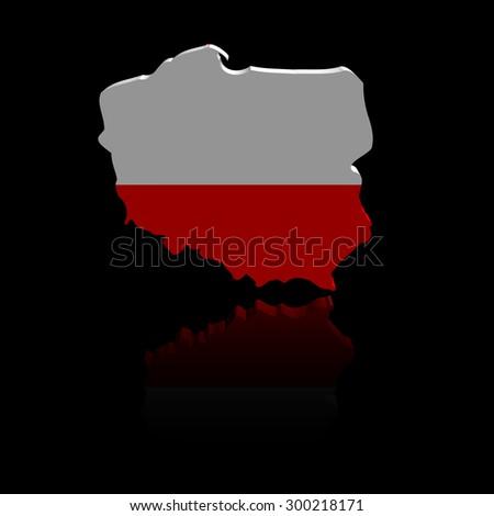 Poland map flag with reflection illustration - stock photo