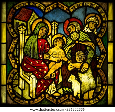 Poland - May 24, 2014: scenes from the life of Jesus, images of the apostles, saints and the figures from the Old Testament., Exposure stained glass, The Castle Museum in Malbork 24 May 2014 - stock photo