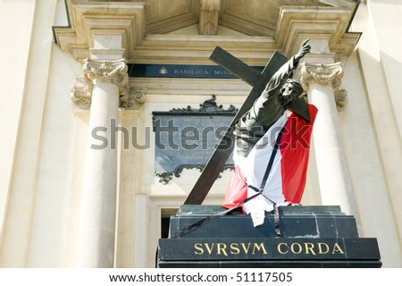 Poland mourns the victims of a plane crash near Smolensk in which the Polish president Lech Kaczynski, his wife were killed. Holy Cross Church April 15, 2010 in Warsaw, Poland. - stock photo