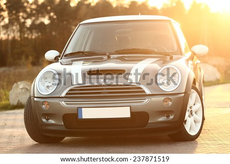 Poland, November 05 2014: Mini Cooper S on the parking lot - stock photo