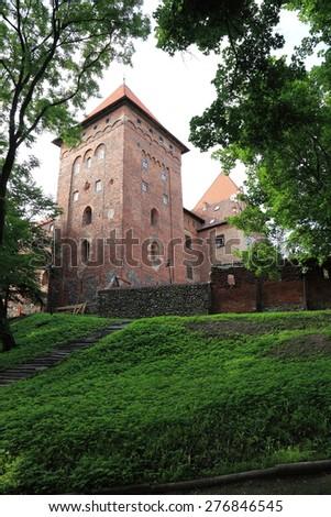 Poland old castle Nidzica old teutonic - stock photo