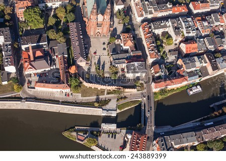 POLAND, OPOLE - AUGUST 19, 2012: Aerial view of Opole city center